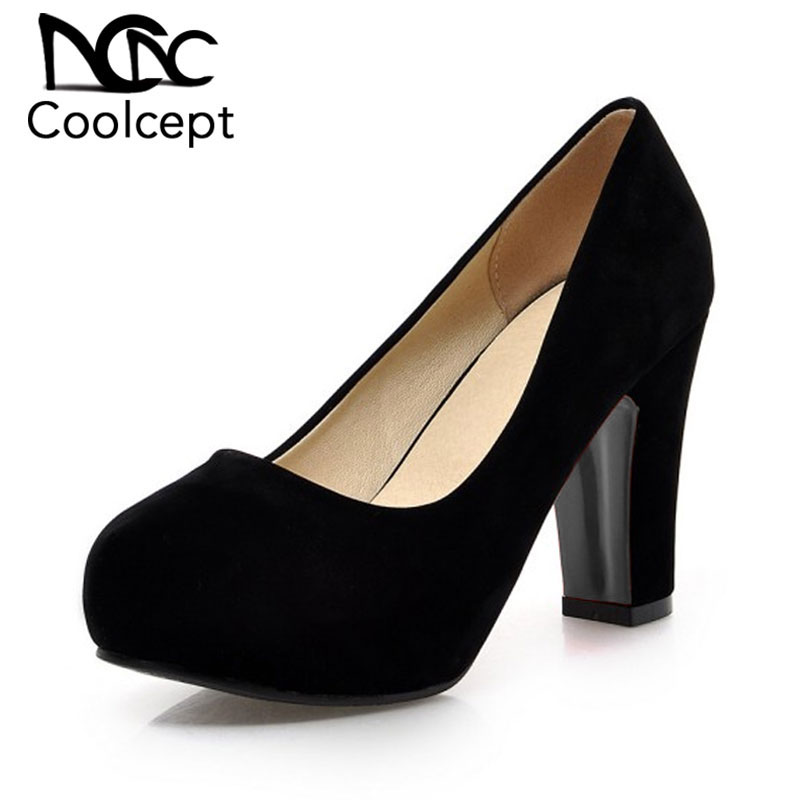 Coolcept Women Squaren High Heels Shoes Nude Color Sexy Dress Lady Pumps Brand Heeled Footwear Heel Shoes Size 32-43 P19247