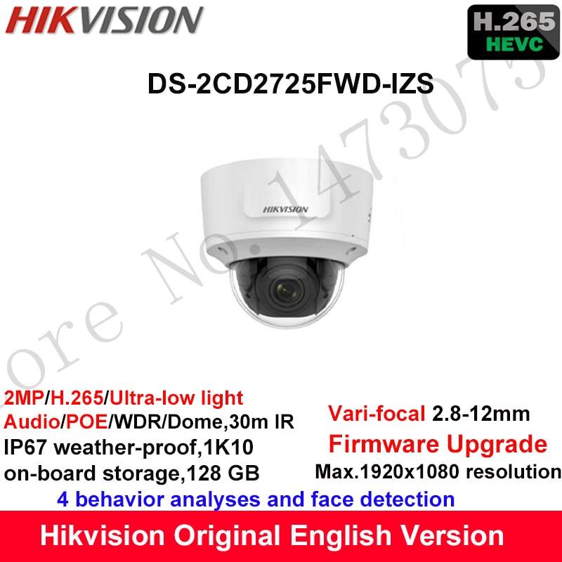 Hikvision 2MP Ultra-low light Vari-focal CCTV IP Camera H.265 DS-2CD2725FWD-IZS Dome Security Camera 2.8-12mm face detection hik ip camera ds 2cd4026fwd ap ultra low light 128gb onvif rj45 intrusion detection face detection recognition
