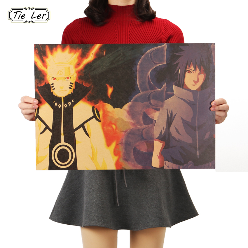 TIE LER Naruto A Style Classic Japanese Cartoon Comic Kraft Paper Bar Poster Retro Decorative Painting 51.5X36cm