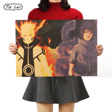 TIE LER Naruto A Style Classic Japanese Cartoon Comic Kraft Paper Bar Poster Retro Poster Decorative Painting 51.5X36cm(China)