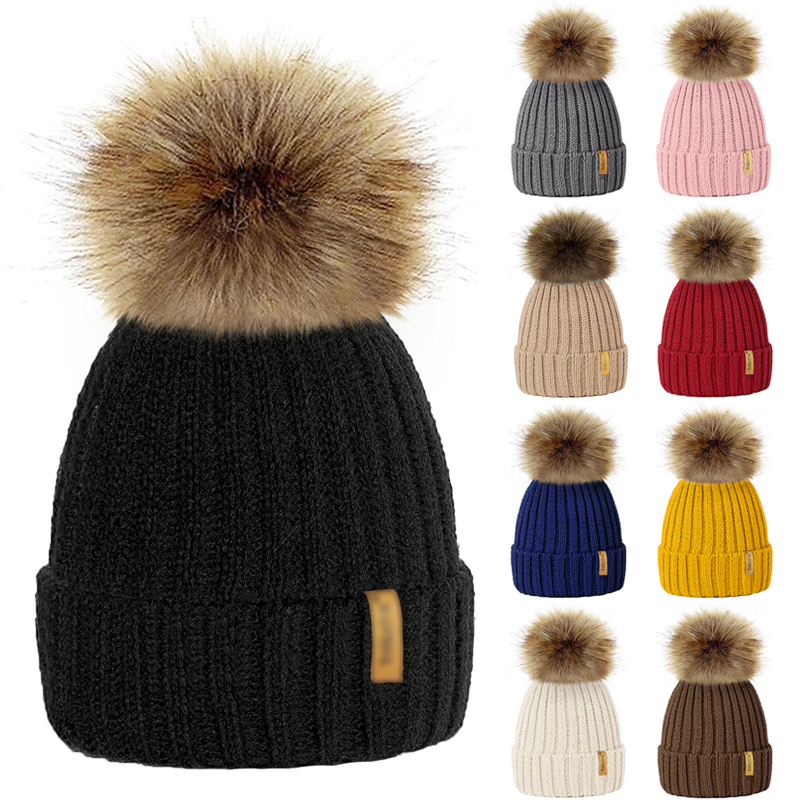 Fur Pom Pom   Beanies   For Ladies Men Winter Hat For Children Knitted Hat With Pompon Warm Cap Parent-child Gorros Mujer Invierno