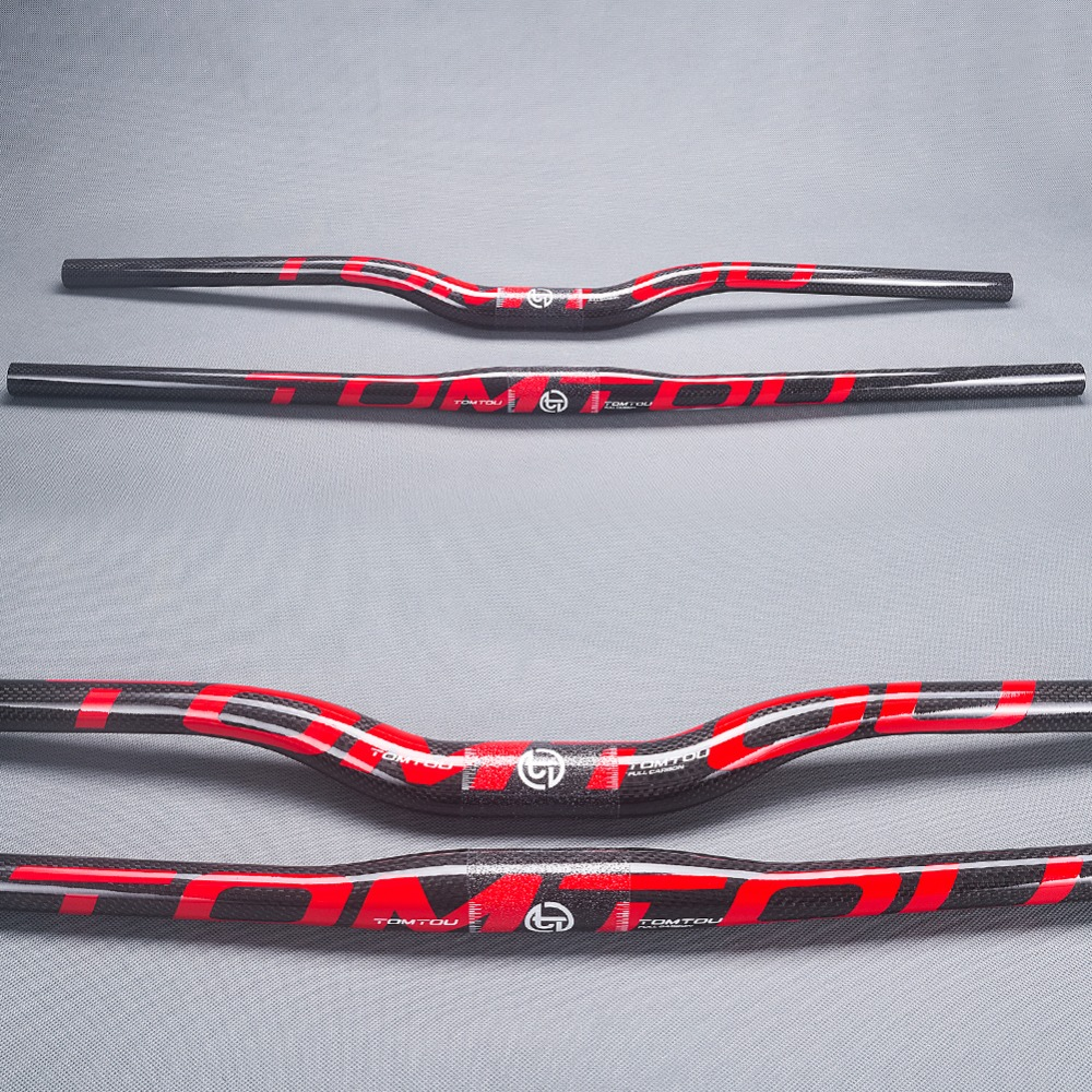 TomTou Full Carbon Mountain Bike Flat Handlebar MTB Bicycle Riser Handlebar Bicycle Parts 31.8*600-760mm 3K Glossy Red - TM6T12