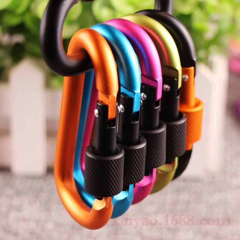 6pcs 7.5mm*78mm*40mm aluminum alloy material 8#D big nut hanging buckle backpack key camping kettle tactical hanging buckle