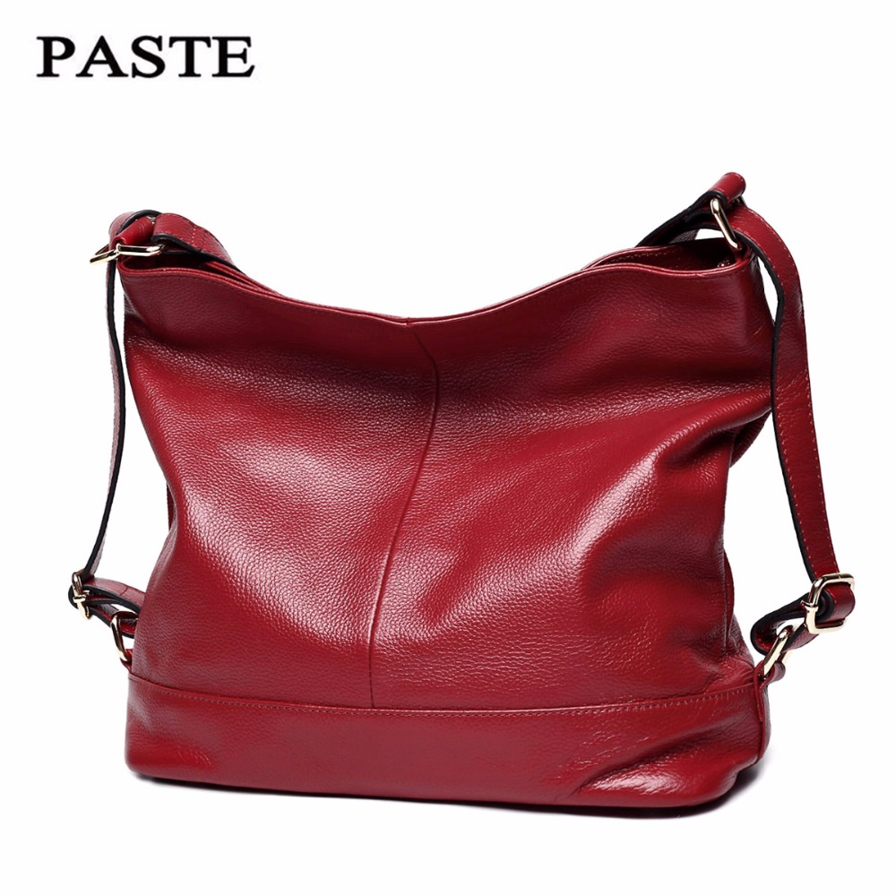 Paste Women Shoulder Bags Genuine Leather Big Capacity Bags Soft Cow Leather Totes Brand Handbags 2018 Black/Gray P0902