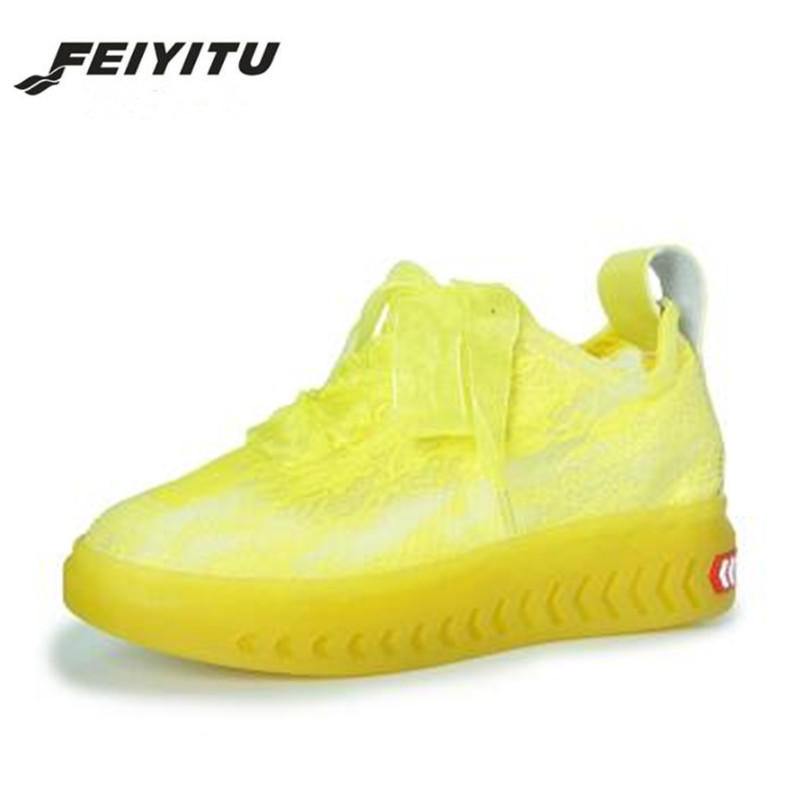 FeiYiTu White Yellow Red Ladies Platform Shoes 2018 spring Women Sneakers Silk Lace Up Breathable Casual shoes zapatillas mujer цены онлайн