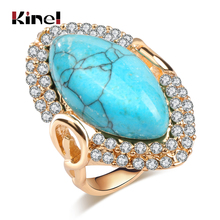 Kinel Hot Fashion Gold Ring For Women Luxury Natural Stone Vintage Jewelry Mosaic White Crystal Rhombus Wedding Party Rings