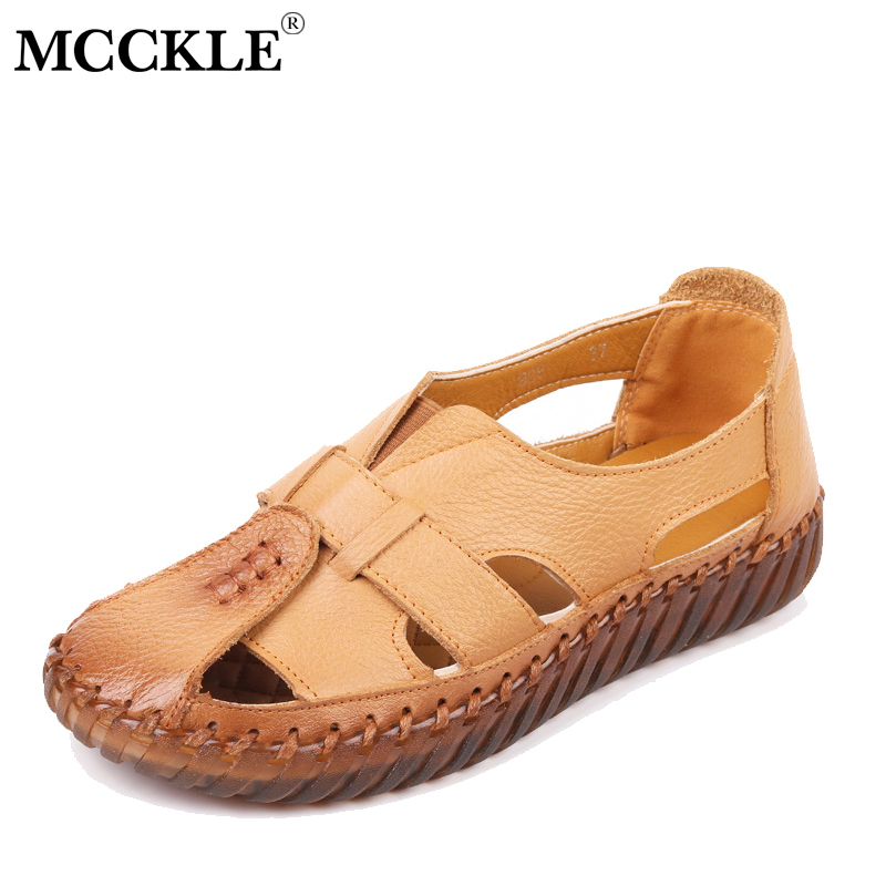 MCCKLE Womens Sandals Plus Size Summer Genuine Leather Handmade Ladies Flat Shoe Sandal Woman Retro Style Mother Shoes