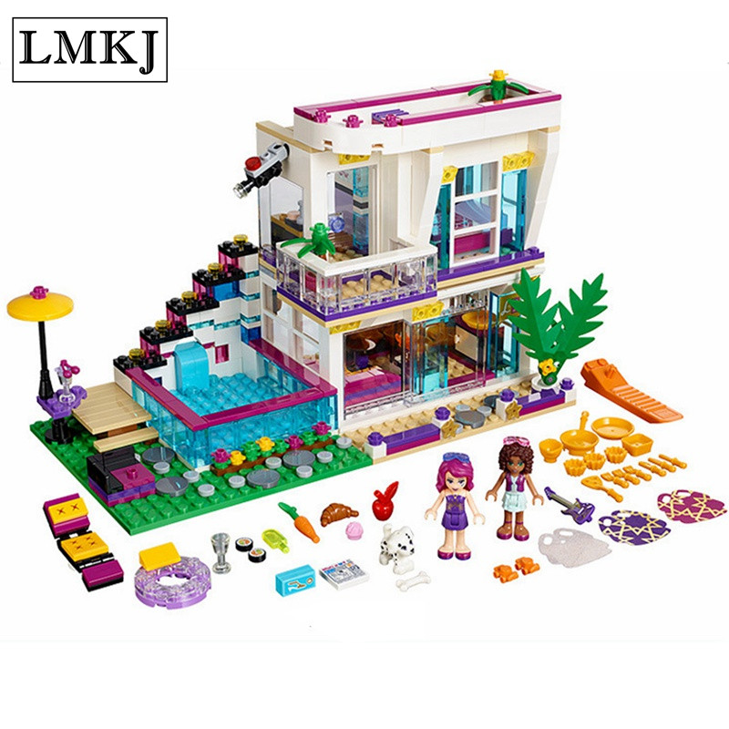644pcs Friends Series Livi's Pop Star House Building Blocks Compatible with Legoingly Andrea mini-doll figures Toys for children figures houses girl friends stephanie mia olivia andrea emma andrea blocks learning toy gift compatible with with friends gift