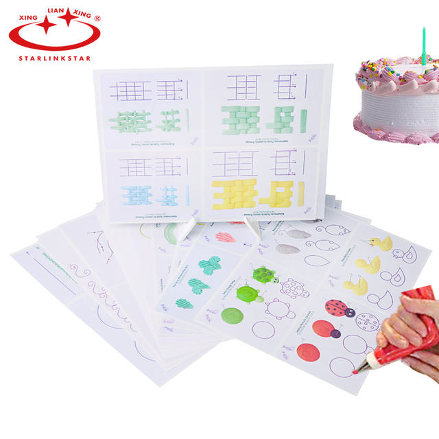 12pcs cake icing piping diy practice board drawing board template