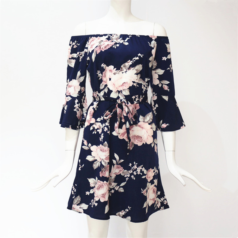 Women Dress 2019 Summer Sexy Off Shoulder Floral Print Chiffon Dress Boho Style Short Party Beach