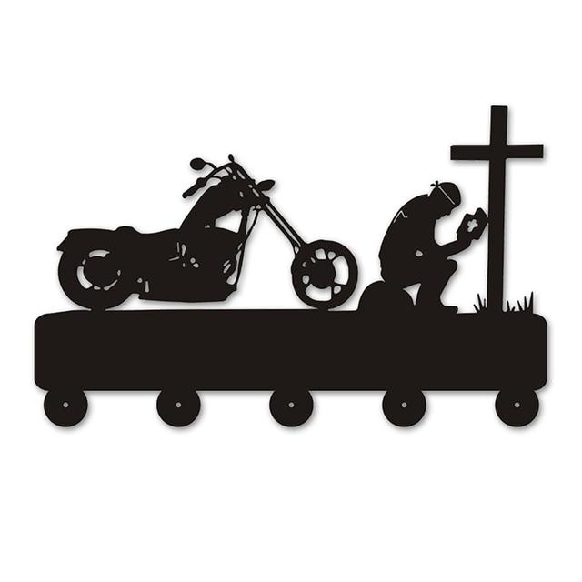 Rezar À Cruz do motociclista Da Motocicleta Gancho Para Roupas Saco de Chaveiro Criativo Cabide de Parede Os Pilotos de Moto Motociclista