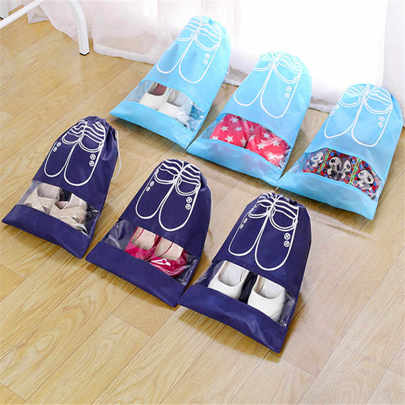 2 Sizes Waterproof Shoes Bag Pouch Storage Travel Bag Portable Tote Drawstring Bag Organizer Cover Non-Woven Travel Accessories