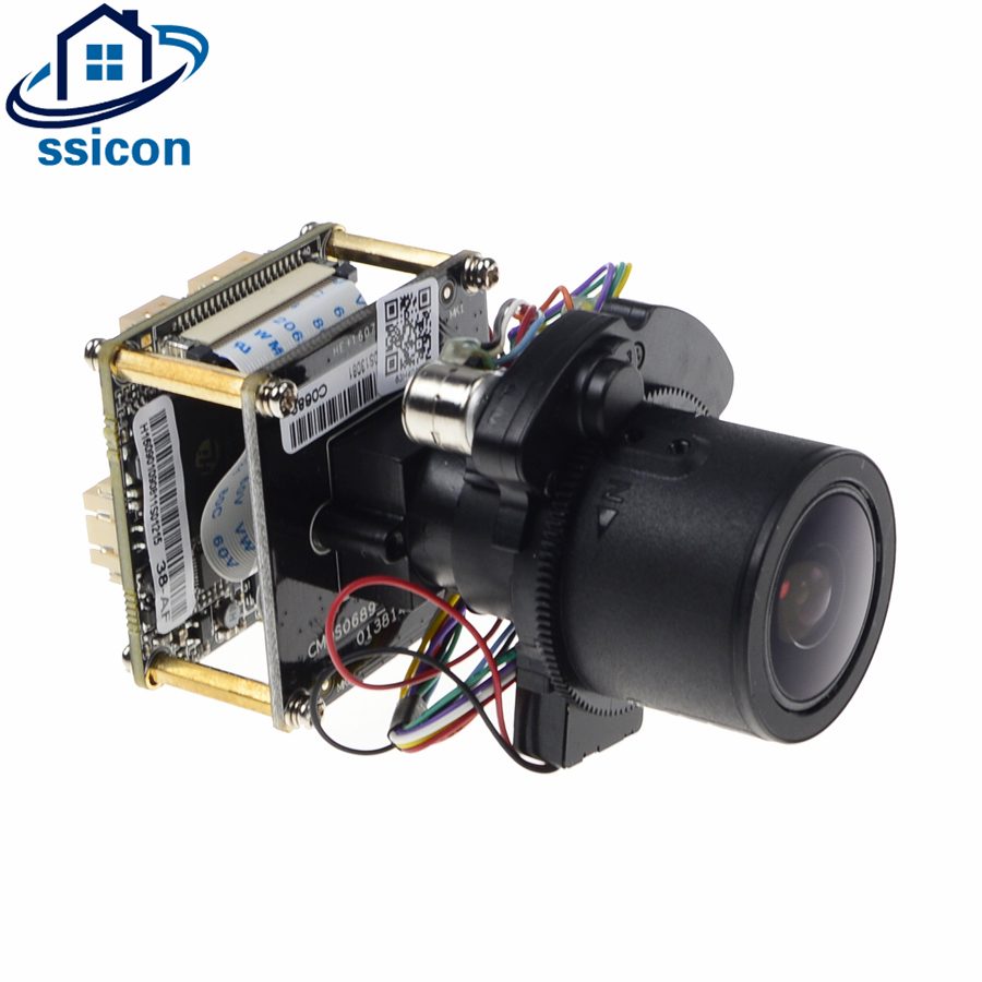 SSICON HI3516D+1/3'' OV4689 CMOS IP Camera Module PCB Board + Cable 4MP Motorized Lens Auto-Zoom 2.8mm-12mm 4X Zoom Camera Board motorized lens auto zoom 2 8mm 12mm 3x zoom h 265 4mp ip camera hi3516d 1 3 ov4689 cmos ip camera module pcb board cable