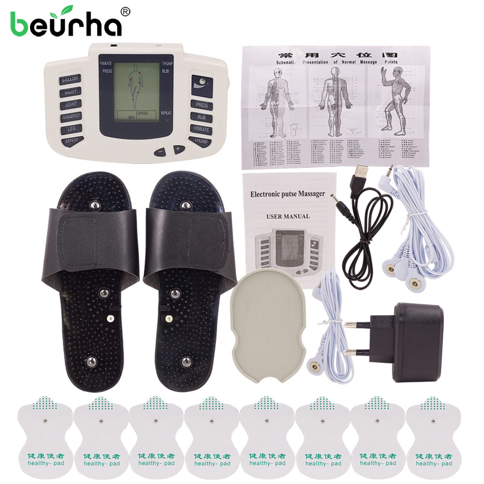 Beurha Electrical Muscle Stimulator Russian button Therapy Massager Pulse Tens Acupuncture Full Body Massage Relax Care 16 Pads with 20x pads full body relax muscle therapy massager electrical stimulator pulse tens acupuncture health care slimming massager