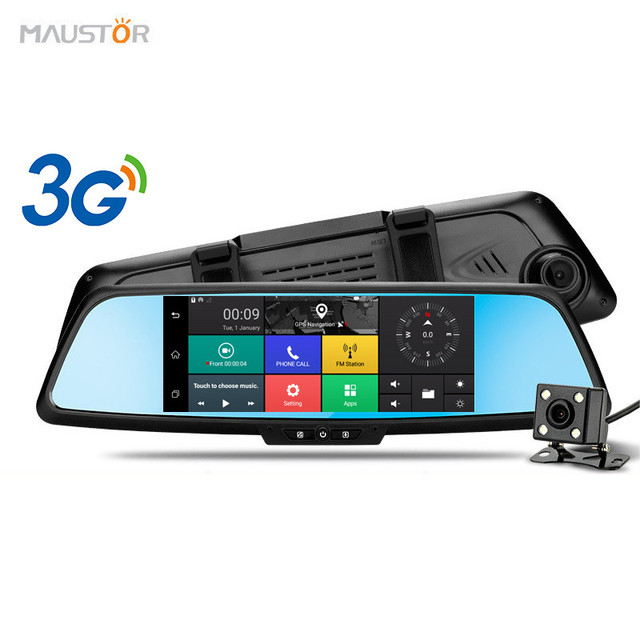 "Newest 7"" 3G Car Camera DVR GPS Bluetooth Dual Lens Rearview Mirror Video Recorder FHD 1080P Automobile DVR Mirror Dash cam"