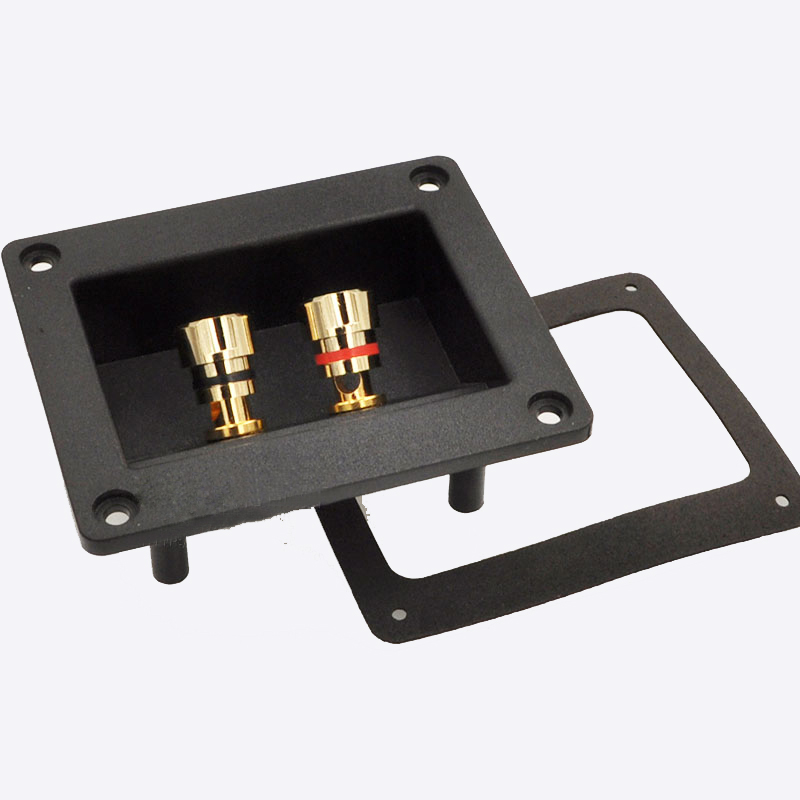 Two Speaker Junction Box Audio Cable Connector Speaker Line Panel Wiring Board Copper Terminal Banana Socket Line Clamp New 2pcs high quality four speaker junction box connector plug terminal audio speaker panel banana socket copper gold plated