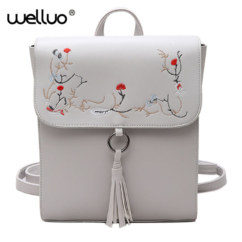 WELLVO New Arrive June Summer Embroidery Flowers Backpack Soft PU Leather Female Bags Simple Fashion Women
