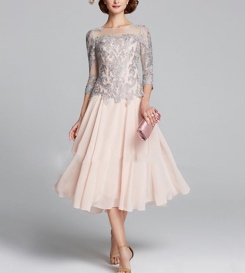 2019 Elegant Chiffon Lace Applique Half Sleeve Tea Length Mother Of The Bride Dress Plus Size