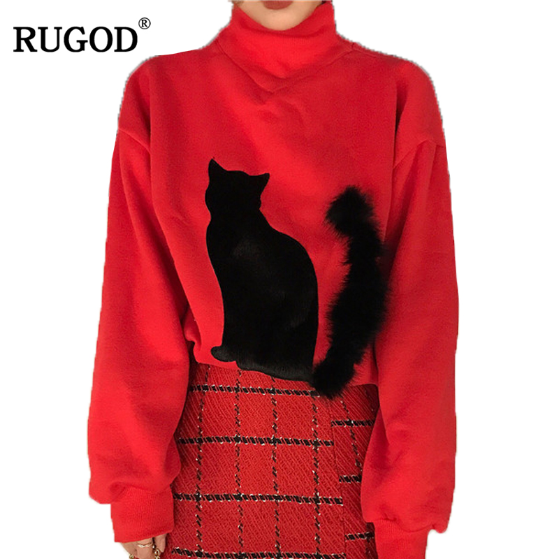 RUGOD 2018 New Arrival Spring Summer Autumn Cute Women Hoody&Sweatshirt Beautiful Turtleneck Red Female Sweatshirts With Cat