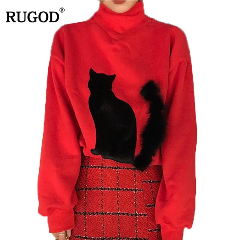 RUGOD 2018 New Arrival Spring Summer Autumn Cute Women Hoody&Sweatshirt Beautiful Turtleneck Red Female Sweatshirts With Cat