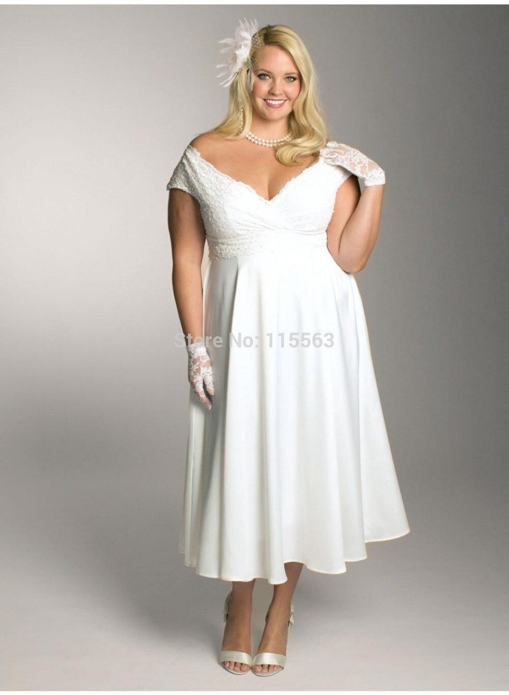 Custom Made Fashionable V neck Elegant A line Beading Fat Girl Slim ...