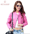2016 New Pink Short PU leather Jacket Women Girls Spring Punk Jackets Mandarin Collar Zipper Leather Coat Vestidos Femininos