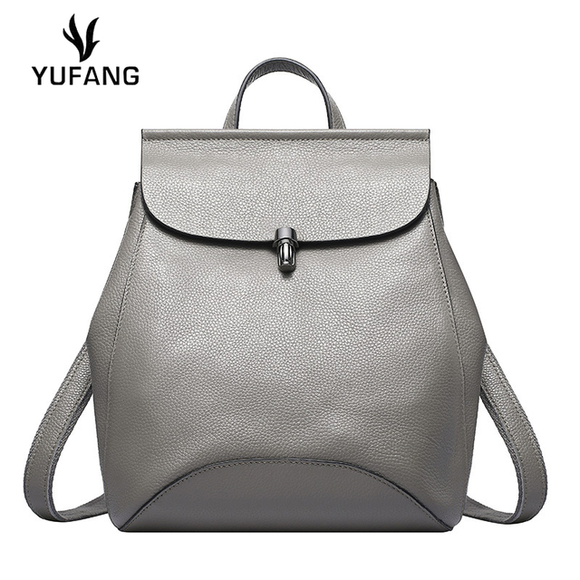 659746de686a YUFANG Leisure Style Women Backpack Genuine Leather Female Back Pack Brand  Candy Color Women Travel Bag Bucket Ladies School Bag