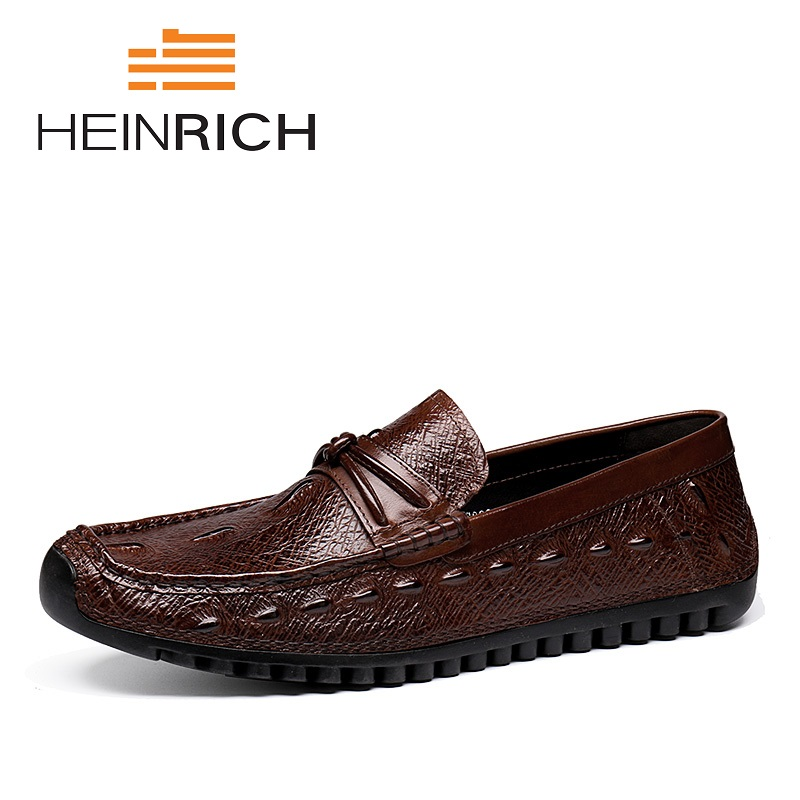 HEINRICH Hot Sale Genuine Leather Loafers Men Slip-On Solid Brand Men Shoes Leather Breathable Men Shoes Zapatos-HombreHEINRICH Hot Sale Genuine Leather Loafers Men Slip-On Solid Brand Men Shoes Leather Breathable Men Shoes Zapatos-Hombre