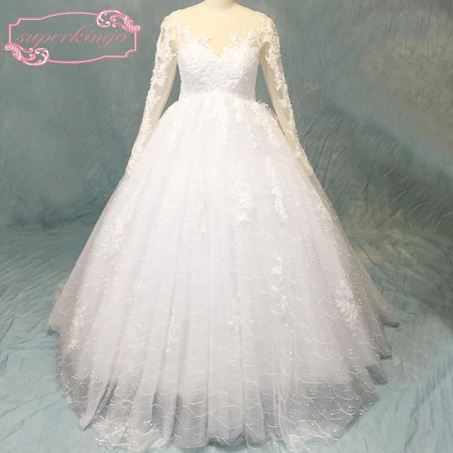 abdc9343b Vestidos-de-novia-de-encaje-brillante-bling-vestidos -de-novia-de-manga-larga-sheer-crew-escote.jpg 640x640.jpg