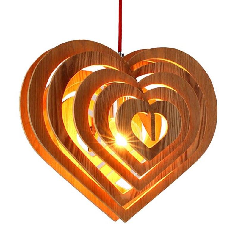 Moderne simple en forme de coeur en bois art pendentif lumières moderne salon chambre LED droplight café bar décoration éclairage - 2