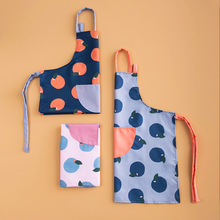 1 Ps Cute Printed Cooking Dining Room Kitchen BBQ Restaurant Cleaning Pocket Waitress Housework Waterproof oil proof Aprons
