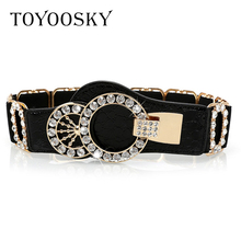 2019 New Arrival  Designer Luxury Elastic Women Wide Belt with Rhinestone belts for women Ceinture Femme High Quality TOYOOSKY