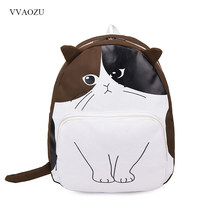 cbf64fe1f4 Cute Cat Canvas Backpack Female Middle School Students Schoolbag Funny  Cartoon Cat Rucksack Shoulder Bags for Kids
