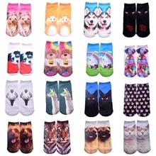 New 3D Printed Cotton Skeleton socks Bone short Women socks Terror novelty socks Animal cat Cute