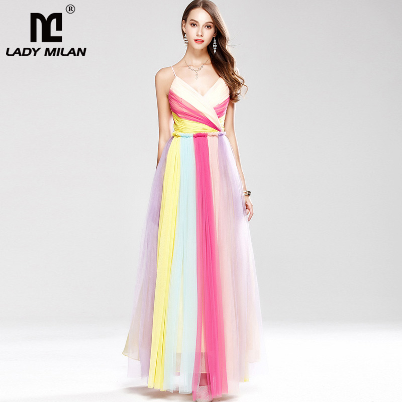 New Arrival 2018 Womens Sexy Spaghetti Straps Ruched Color Block Fashion Long Party Prom Elegant Designer Dresses