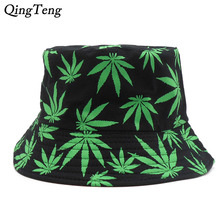 e956e47d726 Weed Bucket Hat Men 2018 New Fashion Adults Print Cap Foldable Cotton  Summer Outdoor Fishing Hats. 2 Colors Available