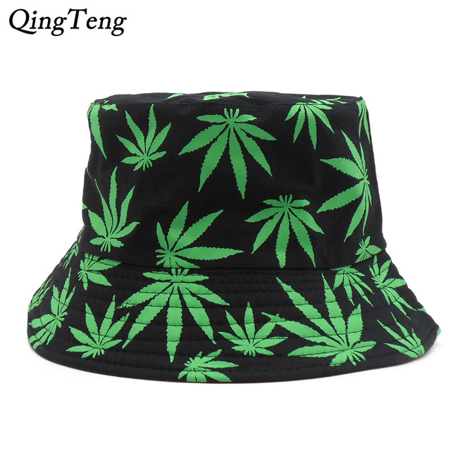 af734b7d9e44f9 Weed Bucket Hat Men 2018 New Fashion Adults Print Cap Foldable Cotton  Summer Outdoor Fishing Hats Hip Hop Cap Colorful