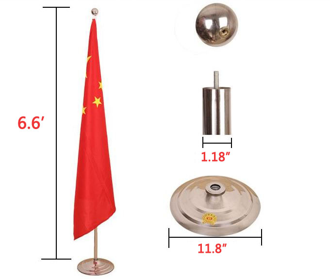 6 Ft Indoor Worldwide National Flag Pole With Standing Base Floor Type Essential For Office Exhibition 2m Flying In Flags Banners Accessories From