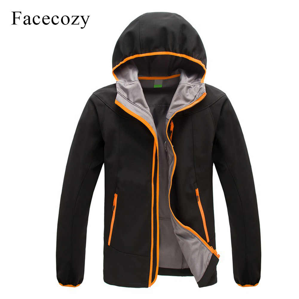 Facecozy 男性の冬の屋外防風キャンプソフトシェルジャケットフード付き無地釣り服