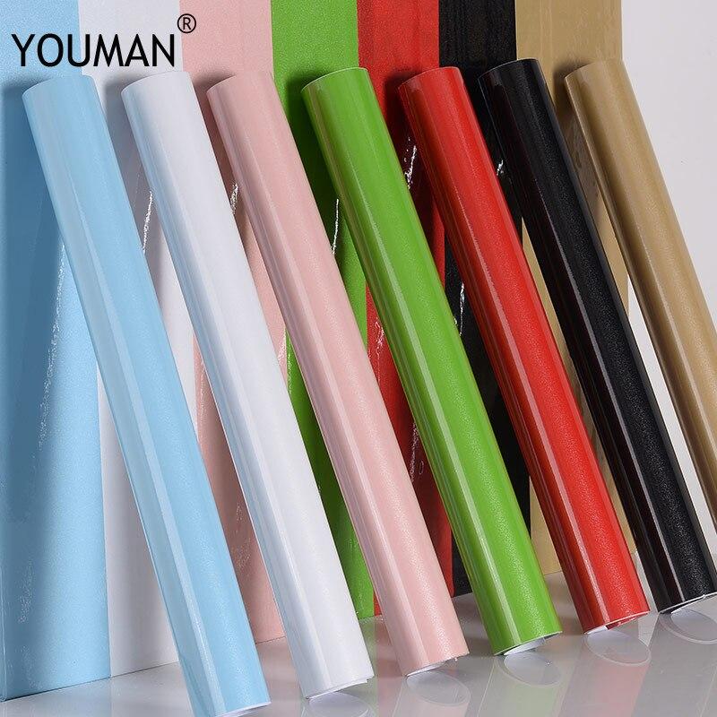 Papiers peints Youman vinyle autocollants auto-adhésif en rouleaux 3 M/5 M/10 M moderne multi-couleur armoires de cuisine PVC pour cuisine rénover
