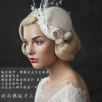 AliExpress selling linen bride feather hat hairpin British lady exaggerated headdress hat bride Wedding Veils