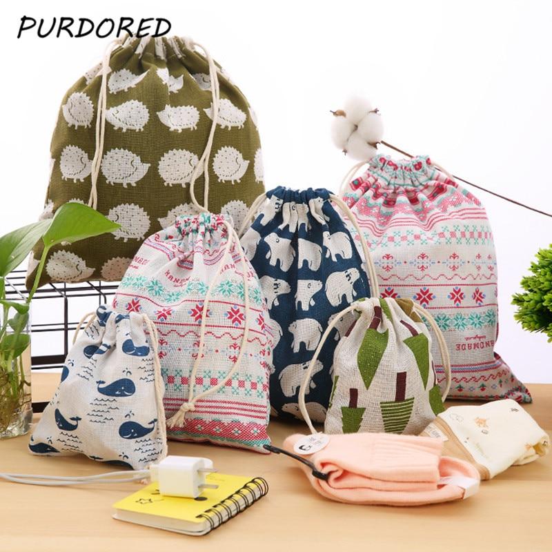PURDORED 3 Pcs set Travel Drawstring Sport Bag Cotton Linen Storage Package Bags Women Cosmetic Jewelry