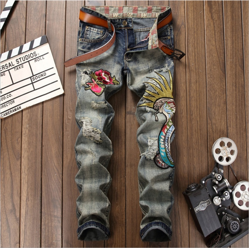 2017 Brand Designer Mens Embroidery Jeans with Flower and Snake Fashion Male Ripped Hole Jeans Casual Long Pants Denim Jeans 2017 mens fashion hole jeans brand designer bird embroidery straight denim trousers male luxury slim cotton zipper ripped jeans