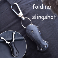 Easy To Carry Black Folding ABS Slingshot Key Ring Professional Catapult Steel Powerful Accurate Shooting Hunting