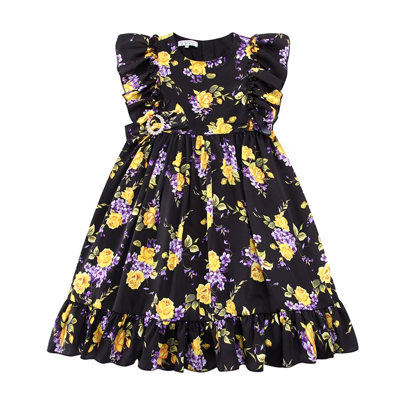 Kids Dress Girls Clothes 2017 Stylish Girls Summer Dresses with Bow Rose Flower Printing Princess Dress for Children Robe Fille girls dress 2016 summer bow flower princess dress vest in korean children s special color printing clothes