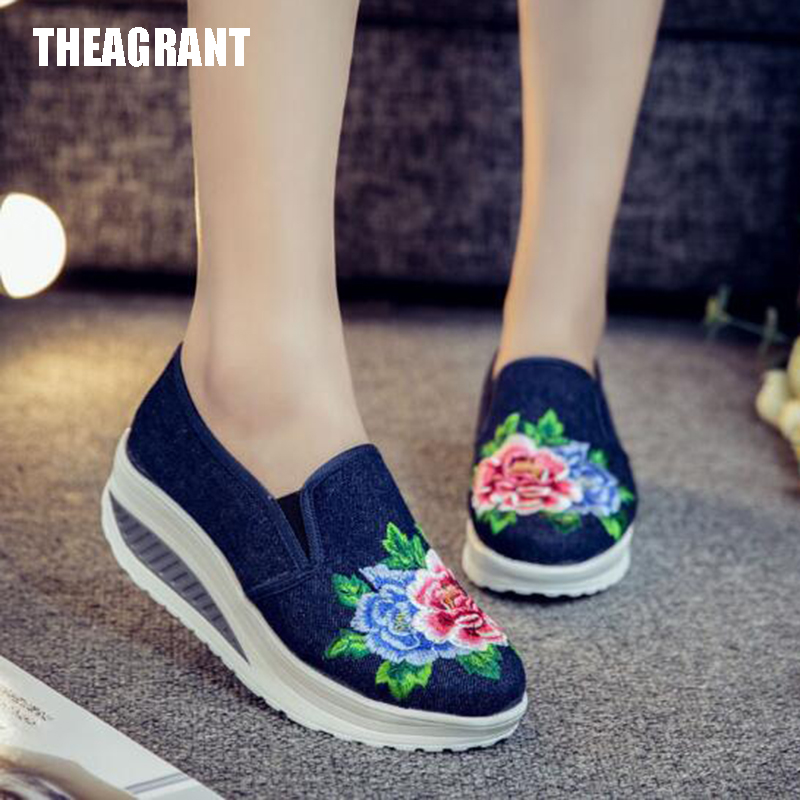 THEAGRANT 2019 Spring Wedge Women Shoes Platform Casual Shoes Embroidered Slip On Chinese Vintage Lady Sneakers WSN3003