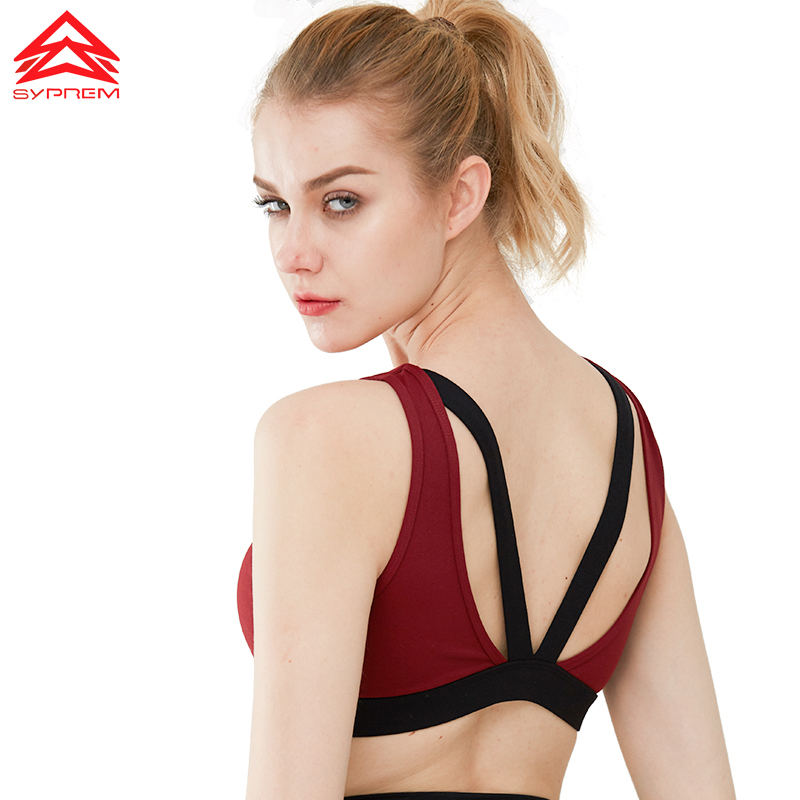 Syprem Sports Bra Sexy Hollow Women Double Shoulder Strap Running Vest Gym sports bra Padded Sport Top Athletic yoga bra,1FT1002
