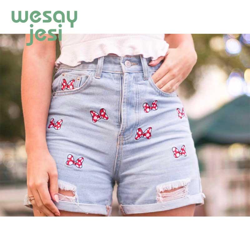 2019 New Summwe Shorts Women High Street Vintage High Waist Short Feminino Bow Embroidery Washed Mom Short Women Plus Size