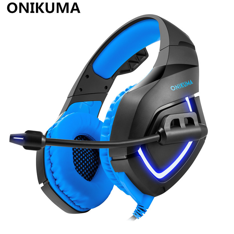 ONIKUMA K1 Ps4 Gaming Headphone with Soft Microphone LED Light for PS4 New Xbox One Computer PC Gamer Bass Gaming Headset casque