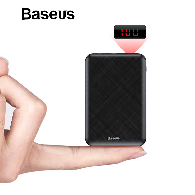 Baseus Mini Banco do Poder 10000 mAh USB C PD Poverbank LCD 10000 mAh Powerbank Para iPhone Xiaomi Externo Portátil Bateria carregador